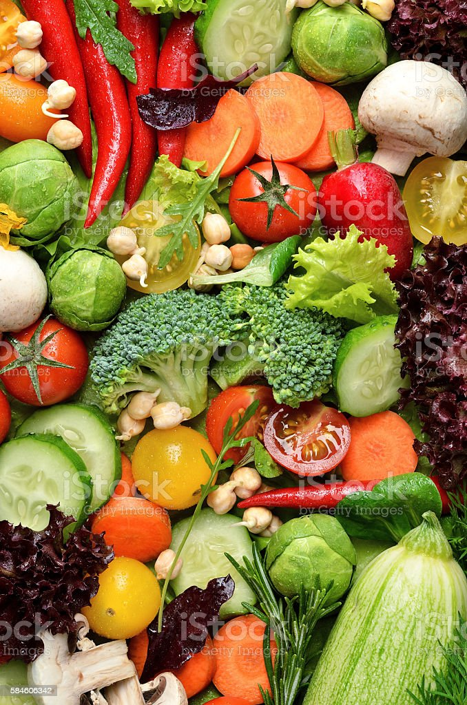 Fresh vegetables with water drops stock photo