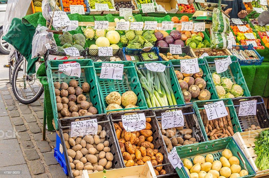 Fresh Vegetales on Sale in a Market stock photo