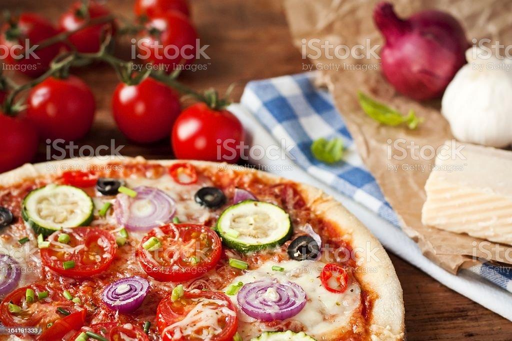Fresh Vegetarian Pizza royalty-free stock photo