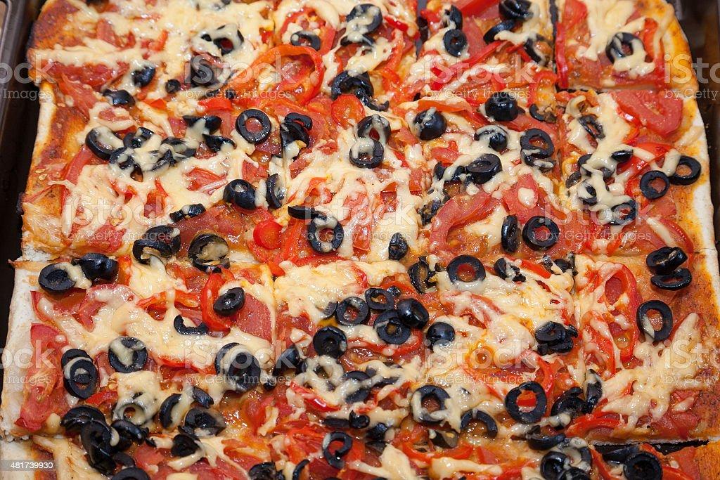 fresh vegetarian pizza stock photo