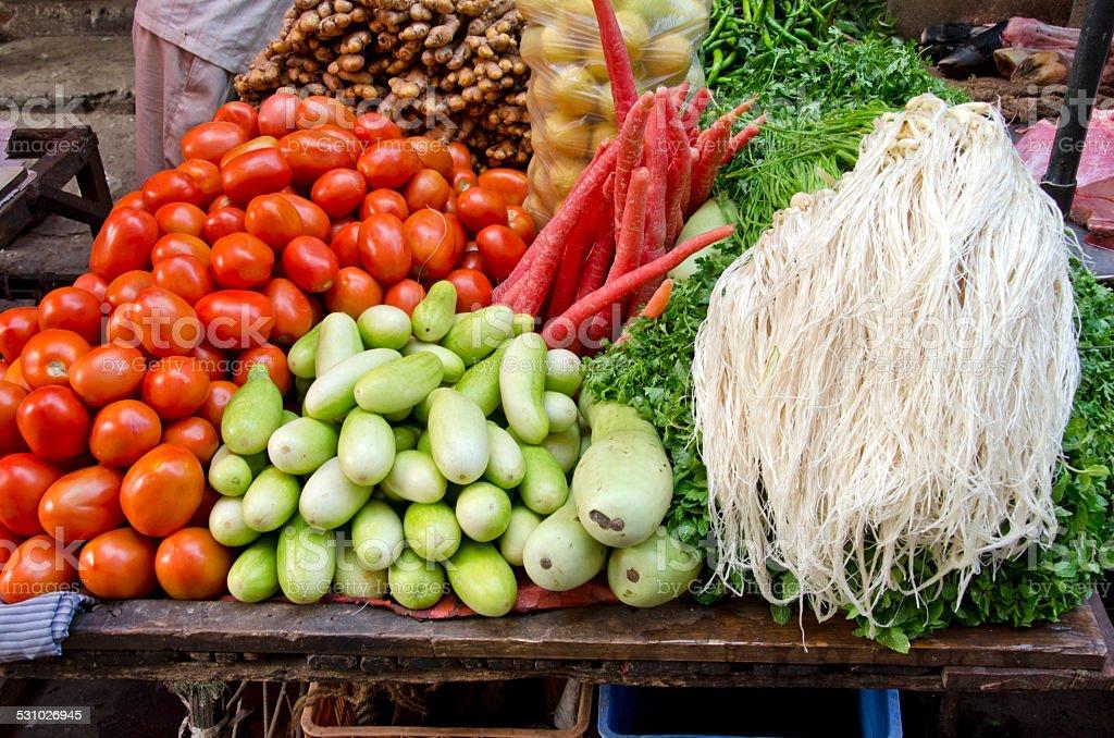 fresh vegetarian vegetable in asia market, India stock photo