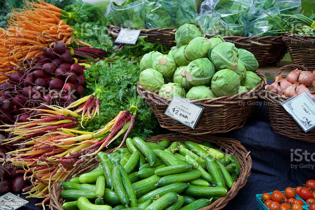 fresh veggies at the farmer's market stock photo