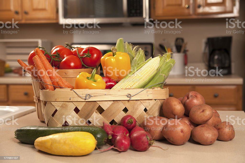 Fresh vegitables on the kitchen cabinet. royalty-free stock photo