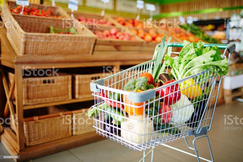 Fresh vegs in cart stock photo