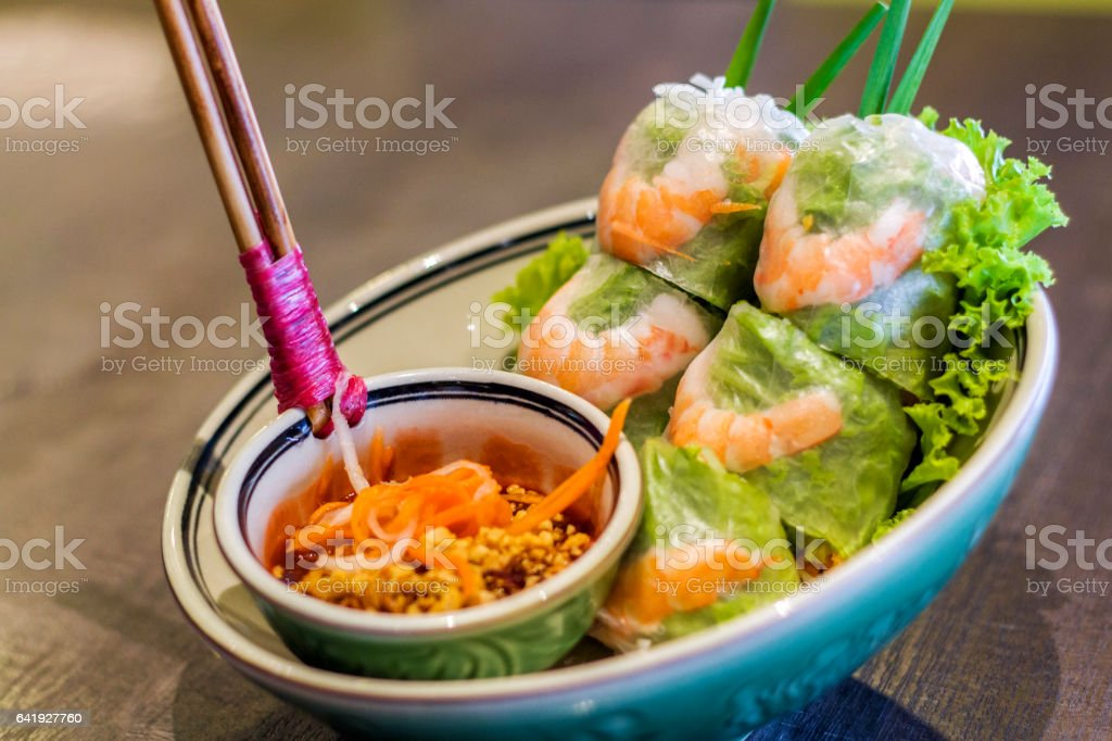 Fresh Vietnamese Spring Roll with shrimp stock photo