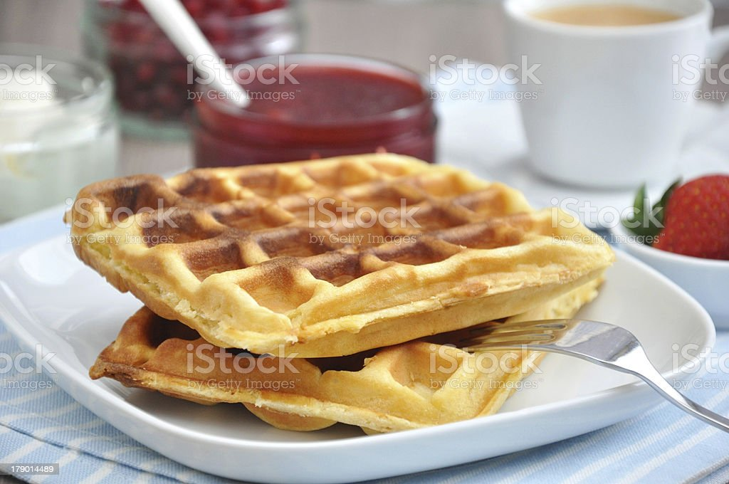 Fresh waffle with strawberries royalty-free stock photo