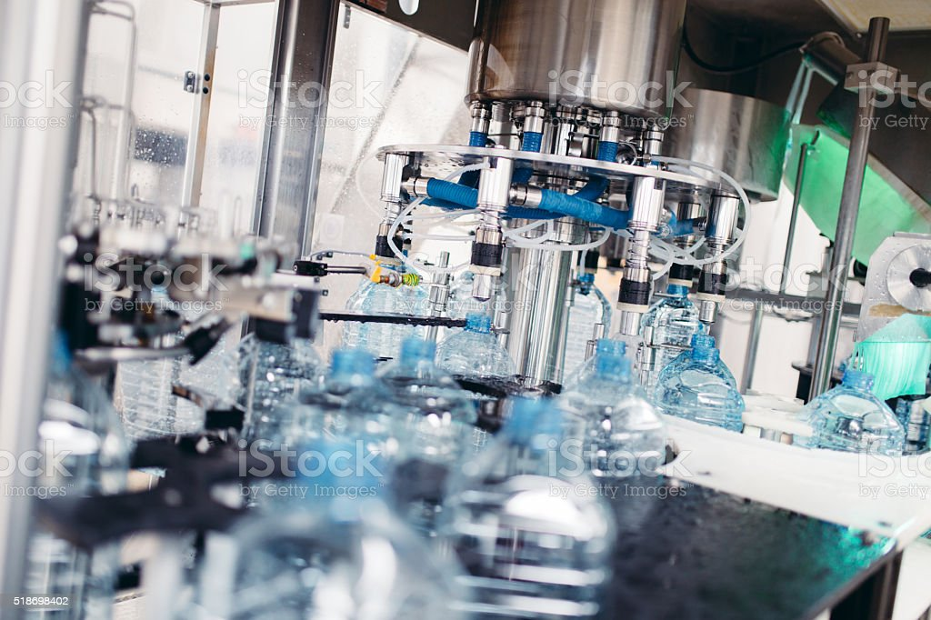 Fresh water bottling factory interior stock photo