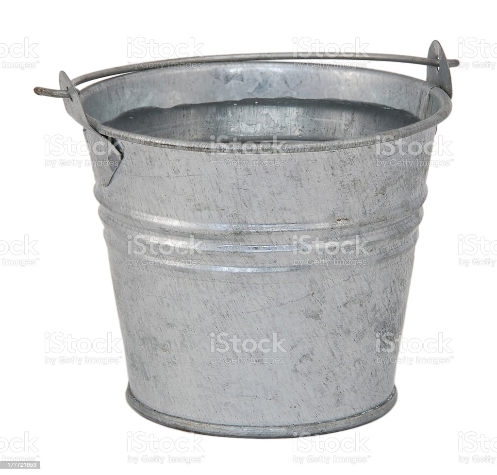 Fresh water in a miniature metal bucket stock photo
