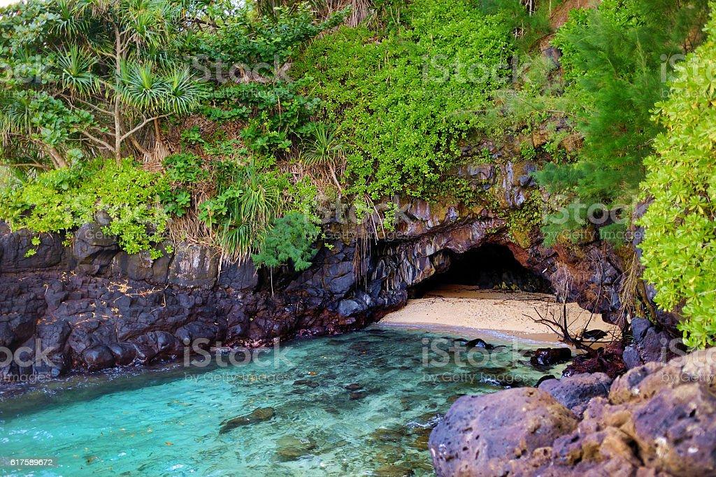 Fresh water lava caves on Kauai island stock photo