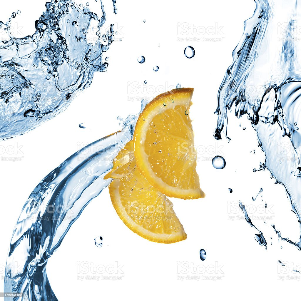 fresh water splashes and orange slices isolated on white royalty-free stock photo