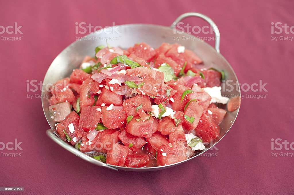 Fresh Watermelon and goat cheese salad royalty-free stock photo