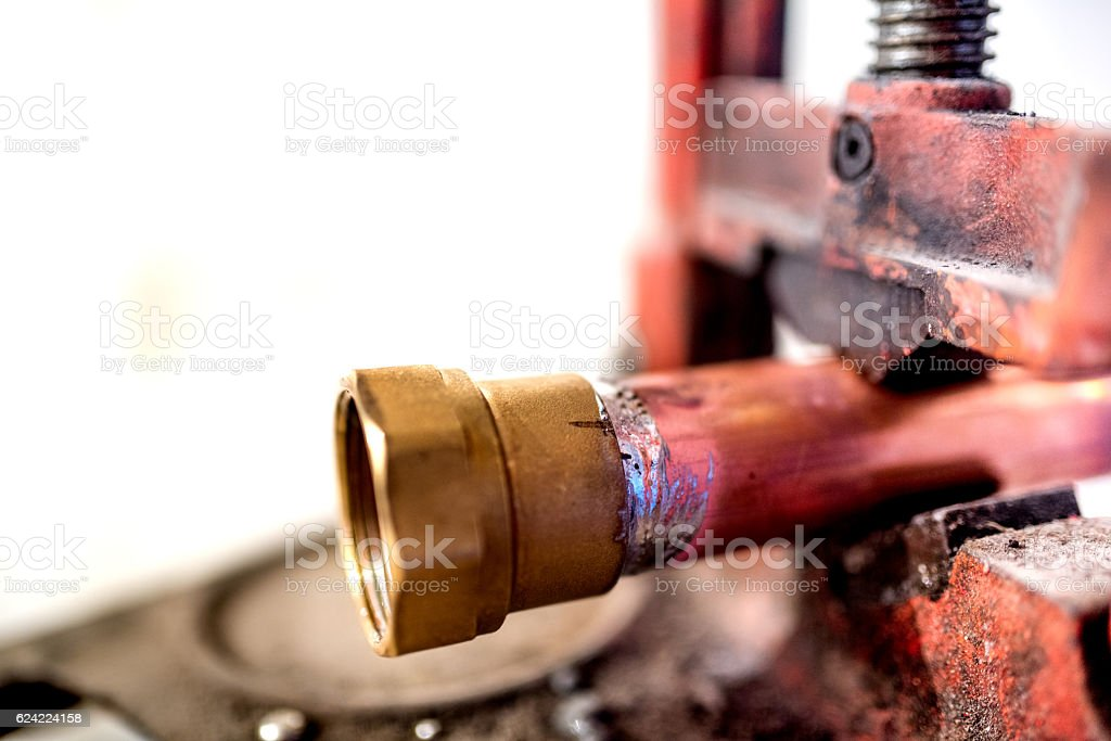 fresh welding fitting for industrial plumbing stock photo