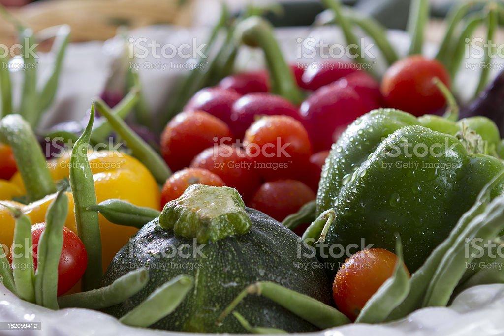 Fresh wet vegetables fill a white porcelain bowl. stock photo