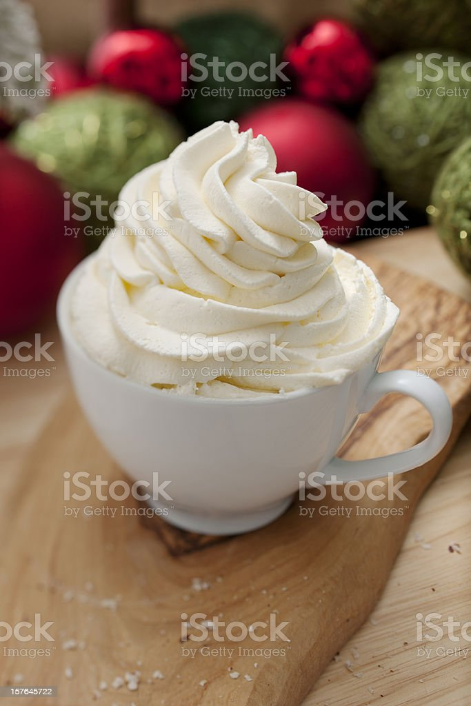 Fresh whipped cream topped christmas drink royalty-free stock photo