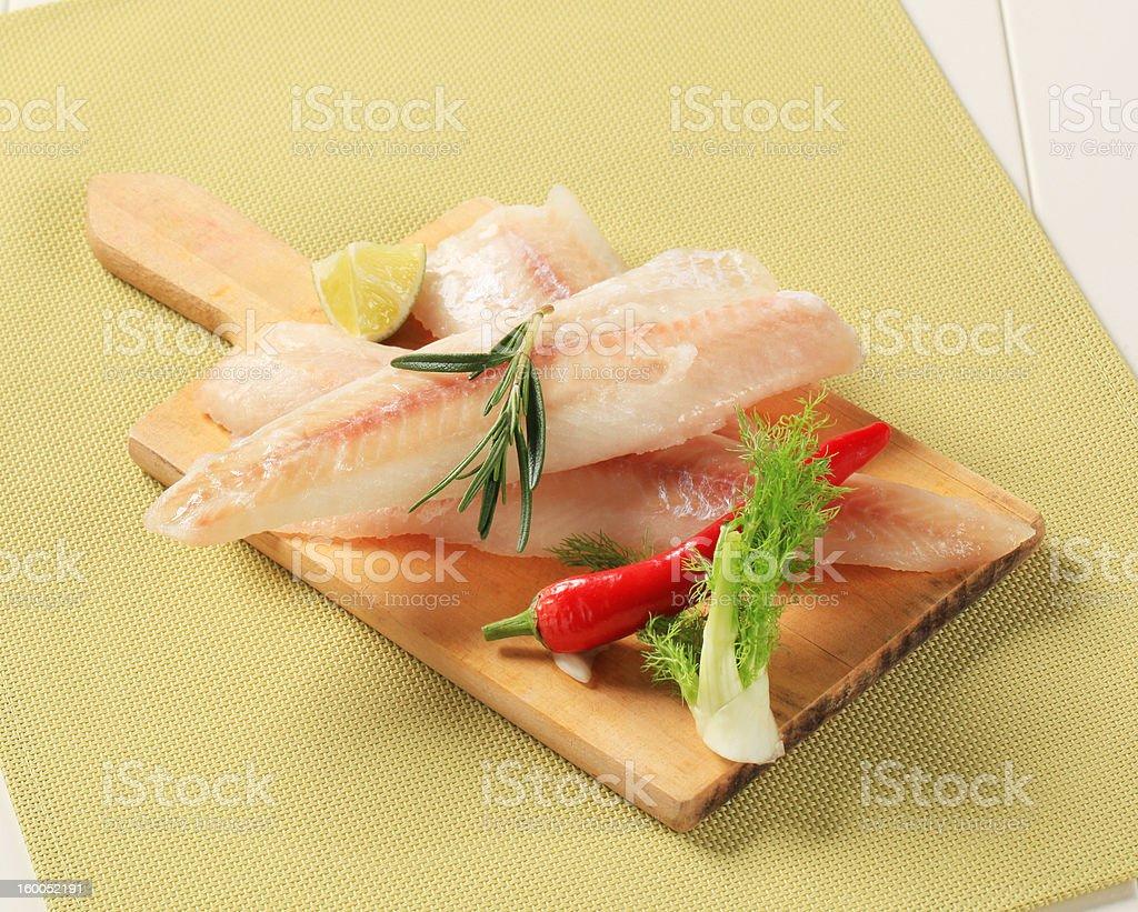 Fresh white fish fillets stock photo