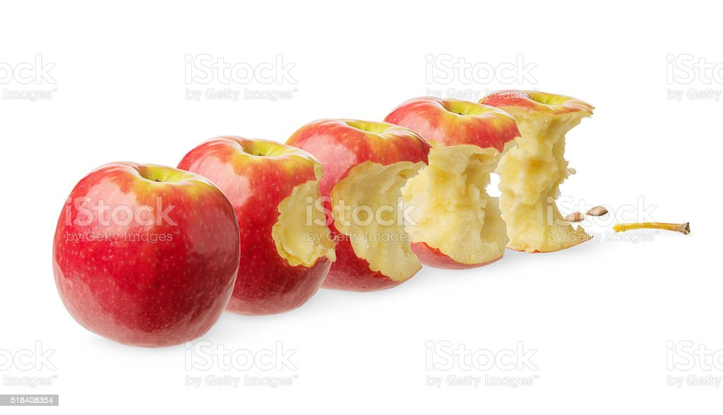 Fresh whole and tested apple stock photo