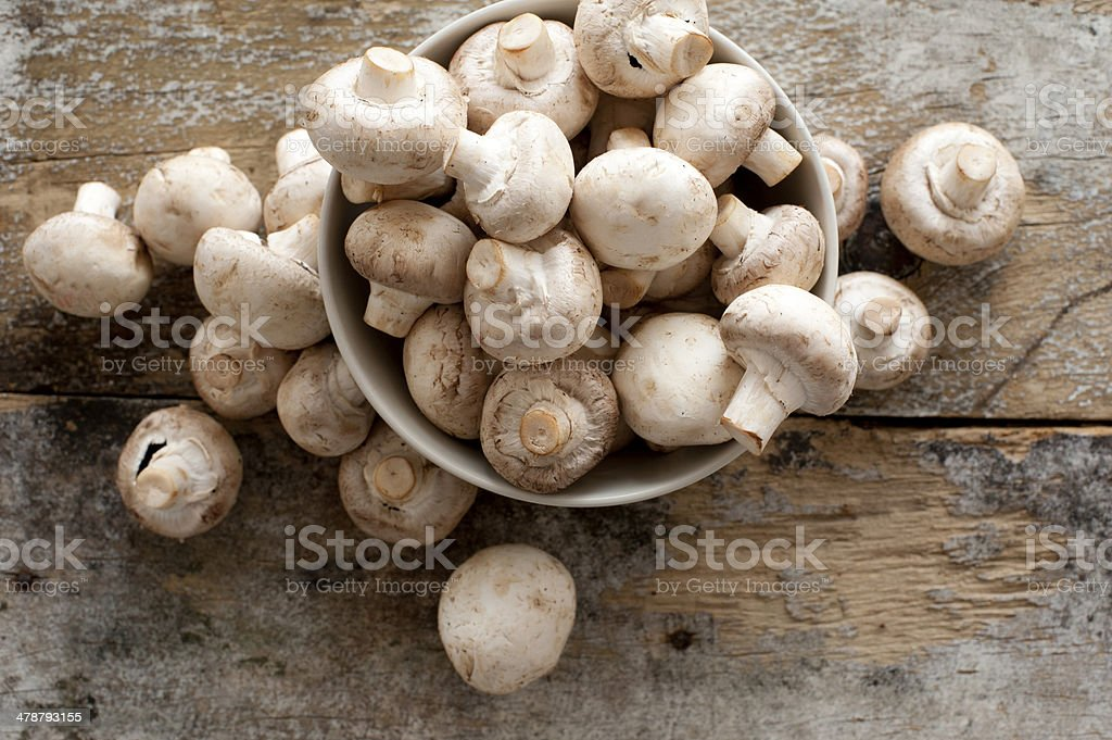 Fresh whole white button mushrooms stock photo