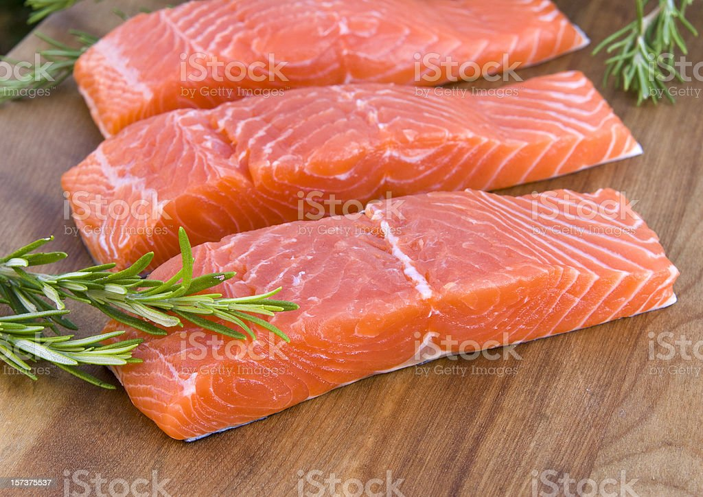 Fresh Wild Salmon Steak & Raw Fish Fillet, Healthy Food Preparation stock photo