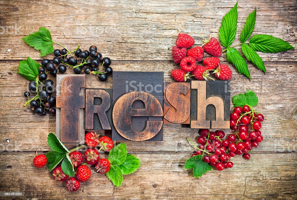 fresh, word with assorted berry fruits stock photo