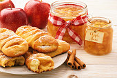 Fresh yeast buns with apple jam and cinnamon.