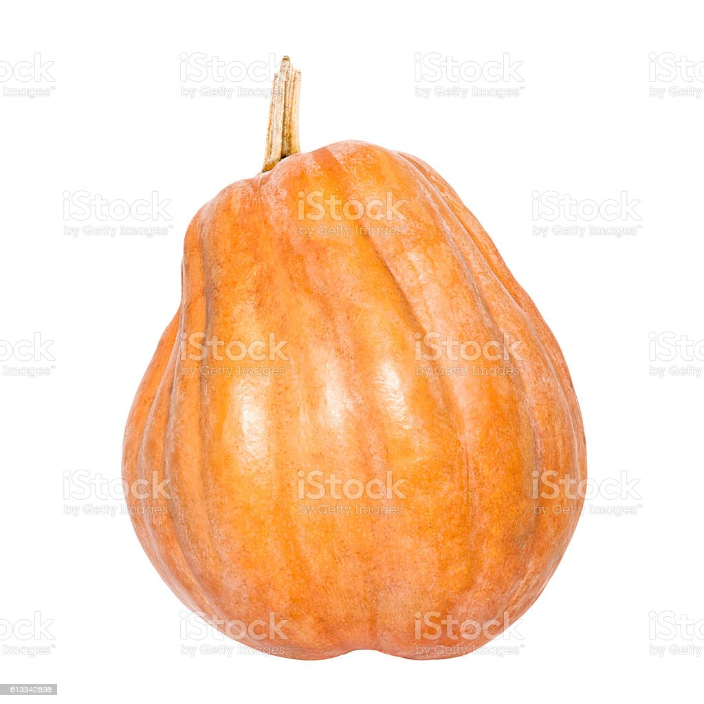 Fresh yellow pumpkin isolated on white background stock photo