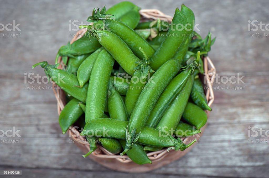 Fresh, young green peas stock photo