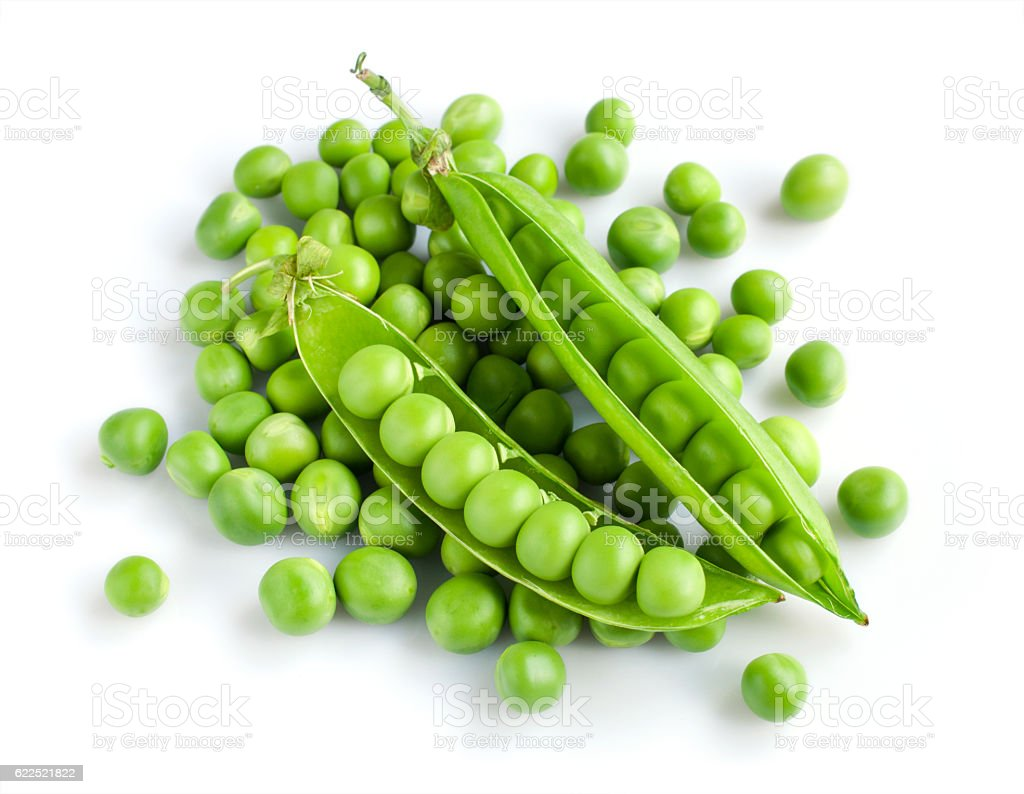 Fresh young green peas stock photo