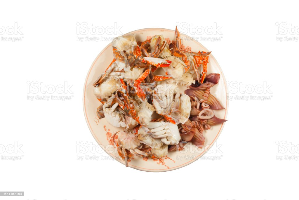 Fresh Yummy Steamed Seafood on White Background, Isolated stock photo