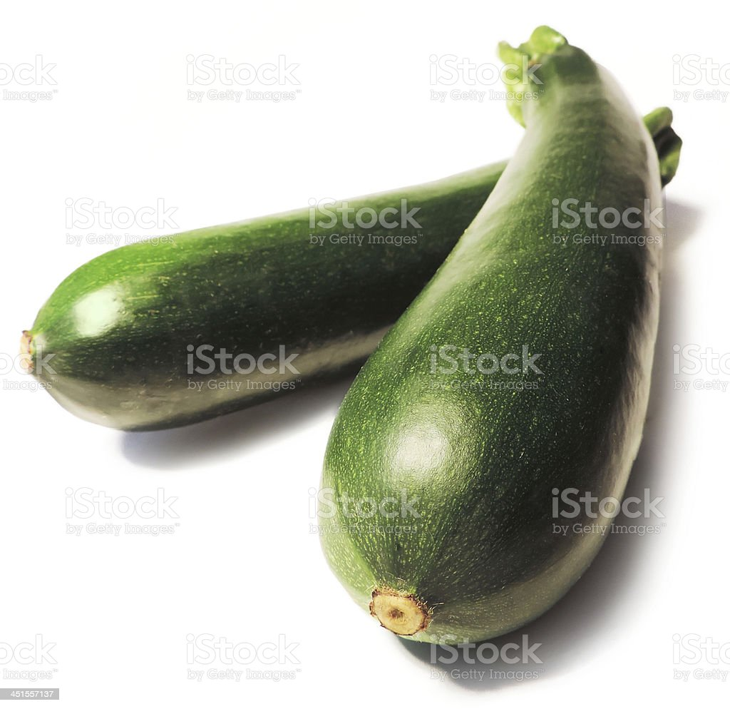 fresh zucchinis on White stock photo