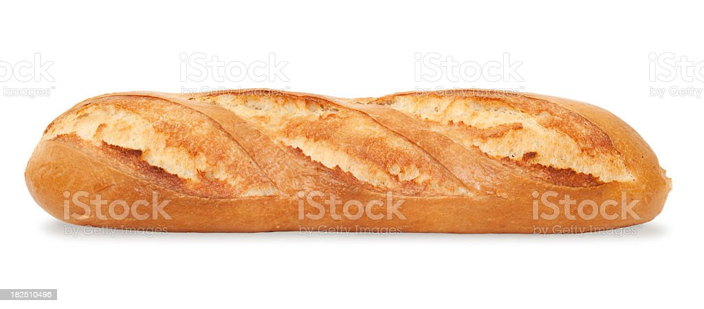 A fresh-baked baguette on a white background stock photo