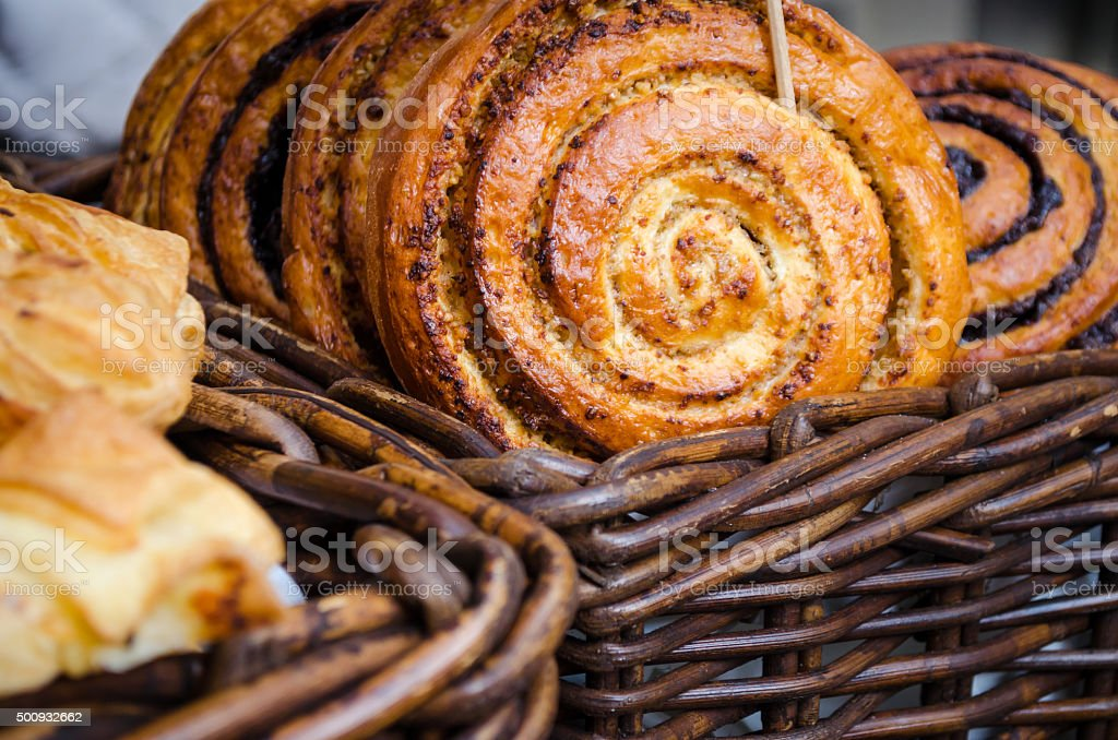 Freshly baked and delicious sweet snail pastry stock photo