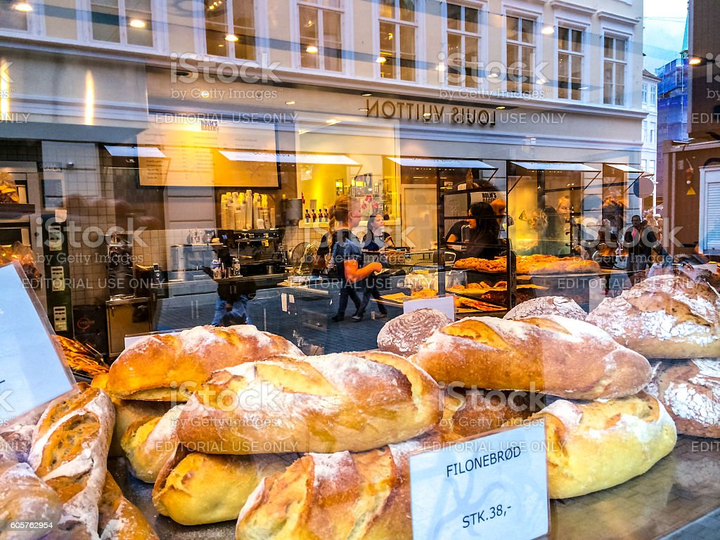 Freshly baked bread in window display, Copenhagen, Denmark stock photo