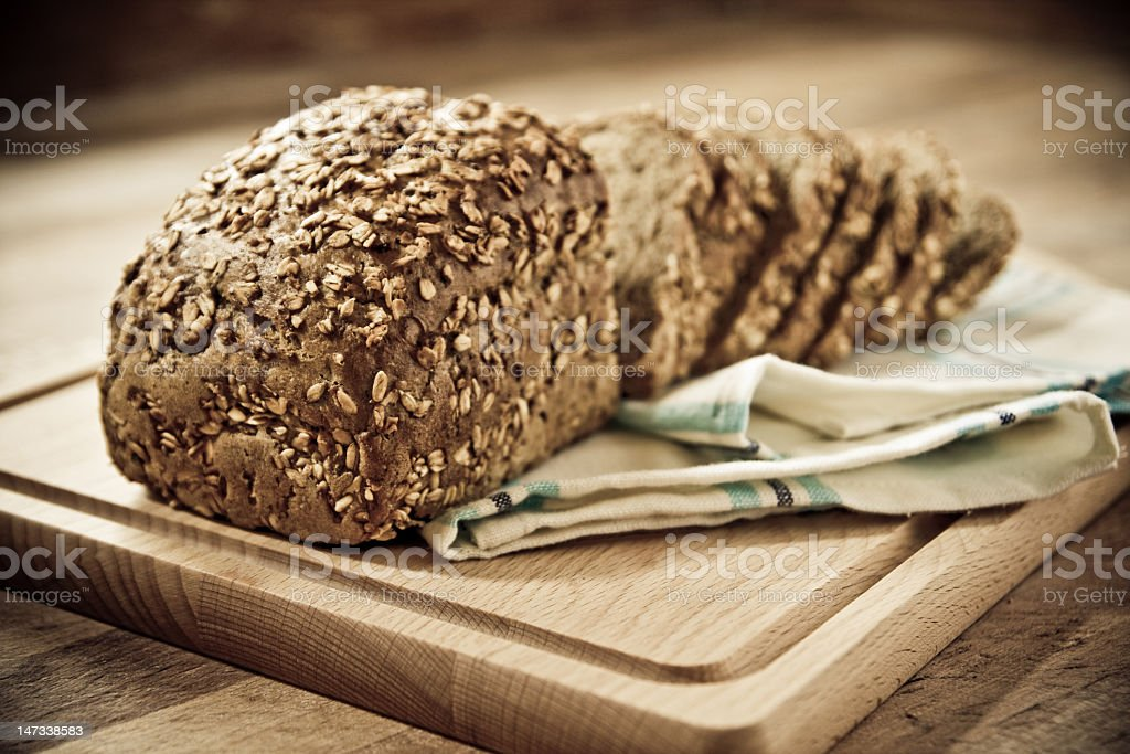 Freshly baked bread sliced ready to eat stock photo