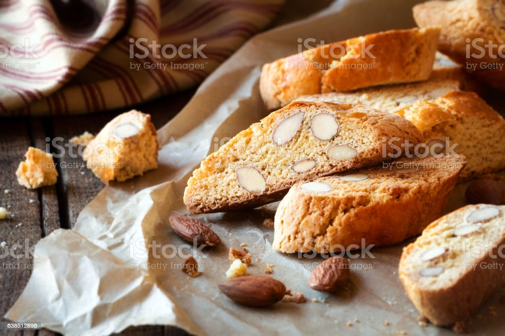 Freshly baked cantuccini biscuits stock photo