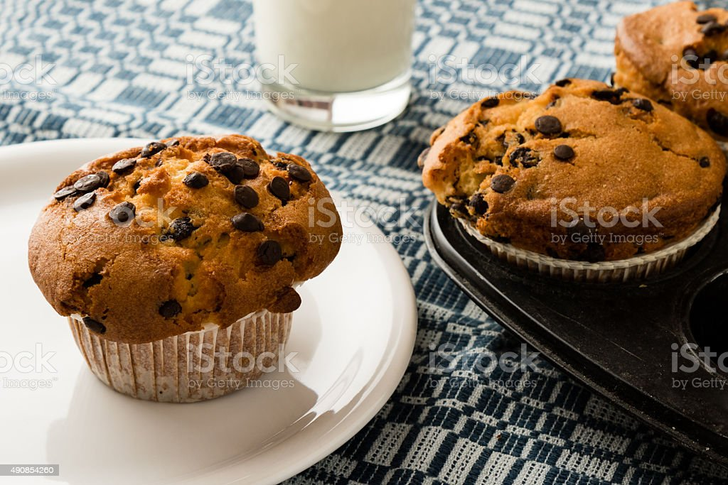 freshly baked chocolate chip muffins stock photo