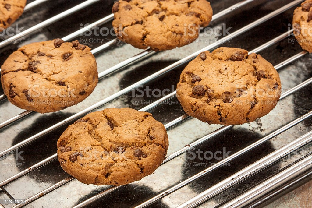 Freshly baked chocolate chips cookies on old baking tray stock photo