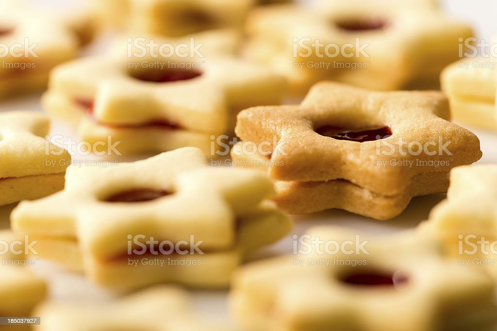 Freshly baked Christmas cookies star with jam royalty-free stock photo