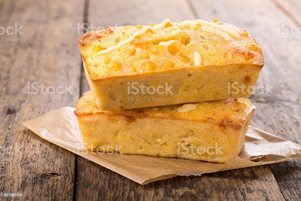 Freshly baked corn bread. stock photo