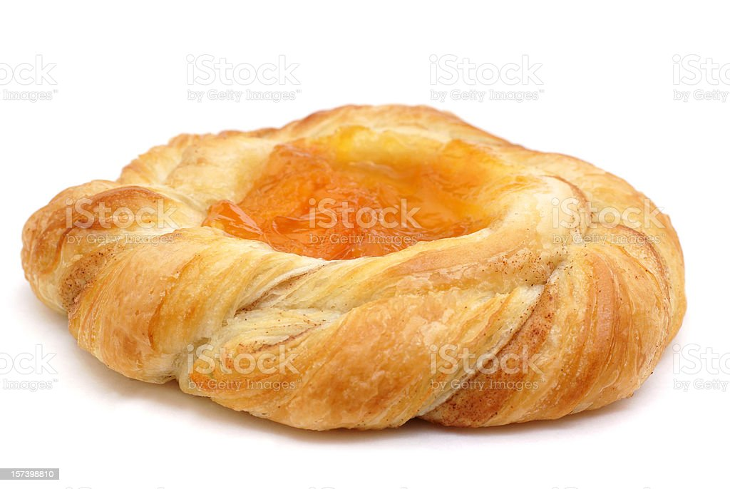 Freshly baked Danish pastry sweet roll. stock photo