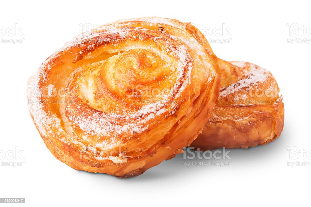Freshly baked delicious sweet buns stock photo