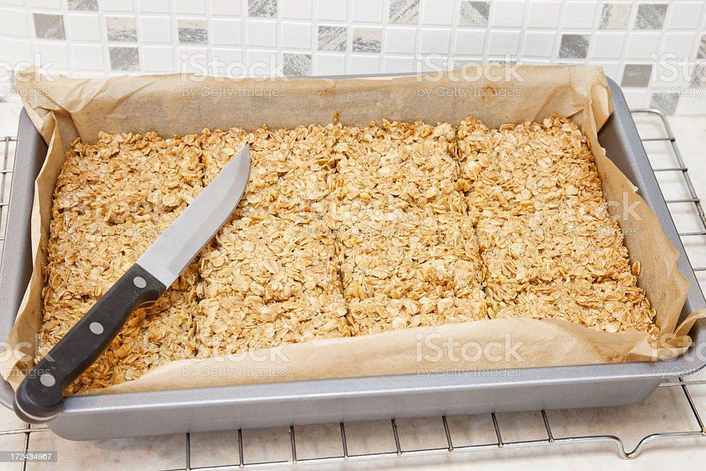 Freshly baked flapjack stock photo