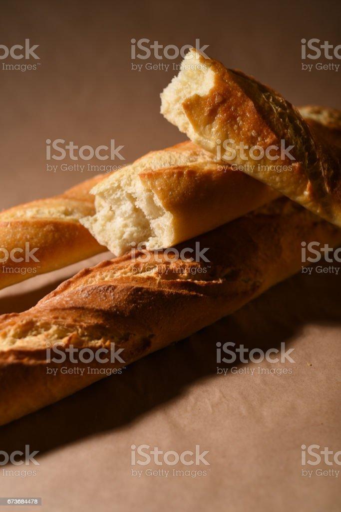Freshly baked French baguette stock photo