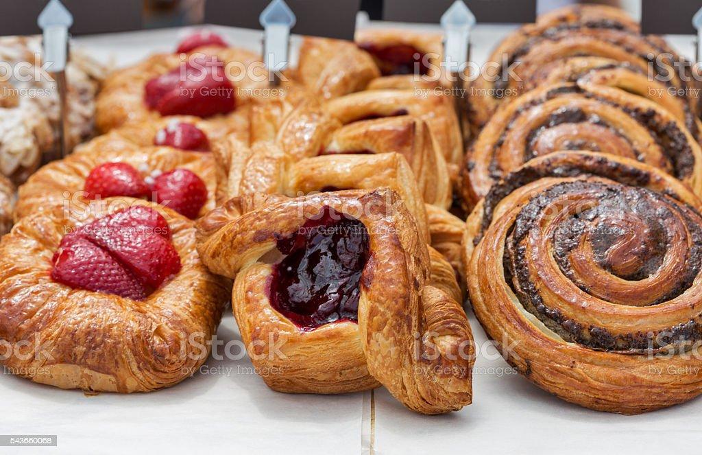Freshly baked goods in organic bakery stock photo