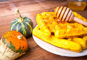 Freshly baked homemade Belgian waffles with pumpkin
