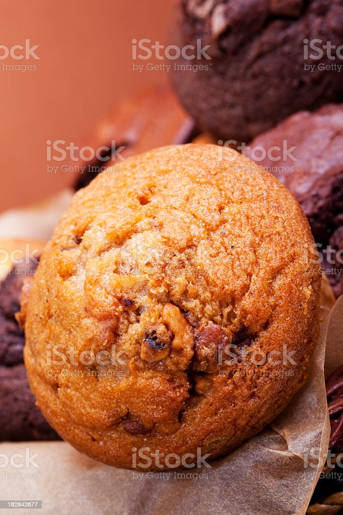 Freshly baked muffins in a basket royalty-free stock photo
