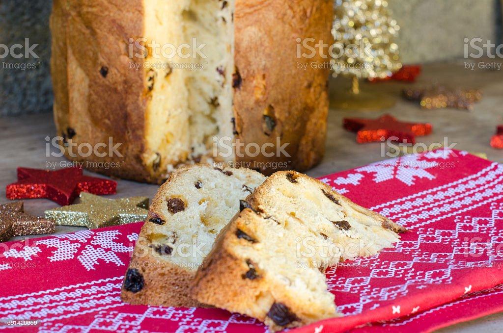 Freshly baked panettone. stock photo