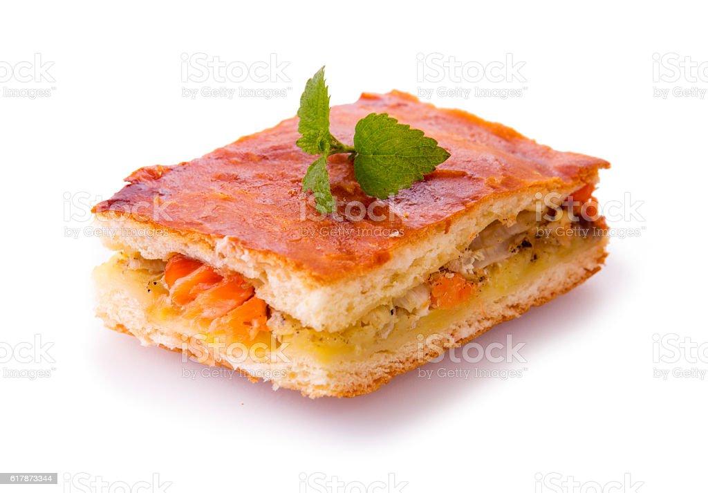 Freshly baked salmon pie . stock photo