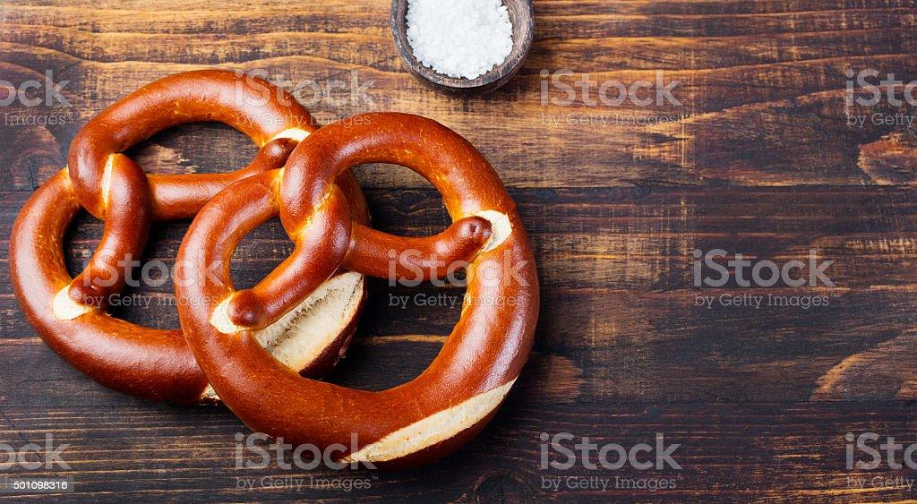 Freshly baked soft pretzel from Germany stock photo