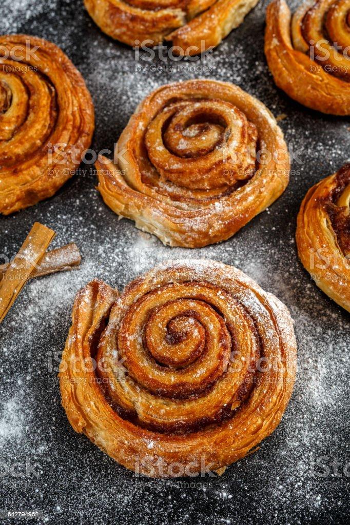 Freshly Baked Traditional Sweet Cinnamon Rolls, Swirl stock photo