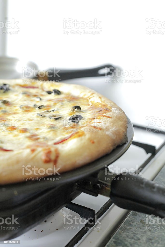 freshly baked vegetarian pizza stock photo